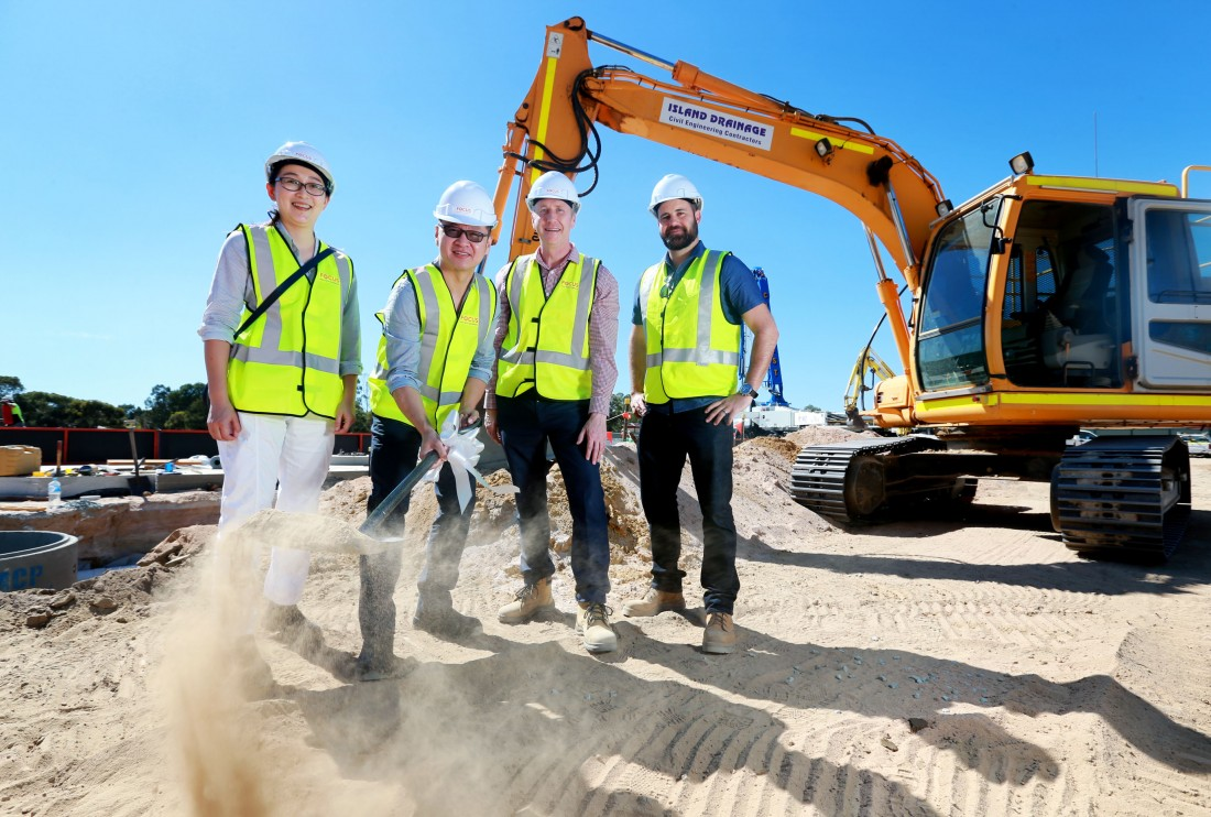 L-R: Hoi Chen, Kim Su (Owner), David Welsh (Director Focus Building Company) and Marc Spadaccini (KPA Architects).  Turning of the soil at the new Waterhall Shopping Centre site in South Guildford.